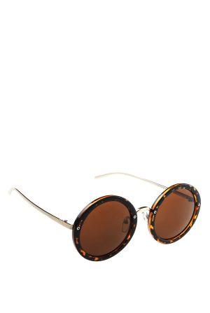משקפי שמש עגולות עם כנף בזהב מט